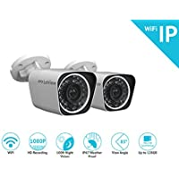 LaView LV-KPCW2BT 2-Pack WiFi 1080P HD Bullet Camera Indoor / Outdoor Day / Night Built in MicroSD slot, Stand Alone Ready, IP67 Weather Proof