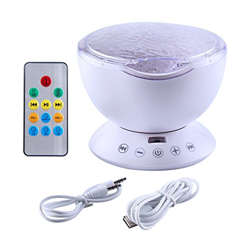 Ocean Wave Projector Light Remote Control Night Light with Built-in Music Player 12 LEDs 7 Color Changing Projector Lamp for Kids Adults Bedroom Living Room Decoration (White)