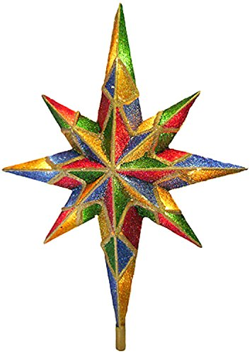 Kurt Adler 10-Light Mosaic Bethlehem Star Treetop (Simple Topper Tree Angel)