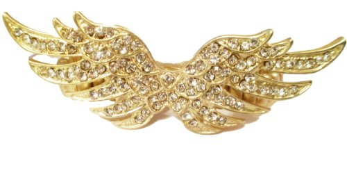 Gold Tone Finger (Angel Wing Ring Crystal Two Finger Stretch BU Gold Tone Statement)