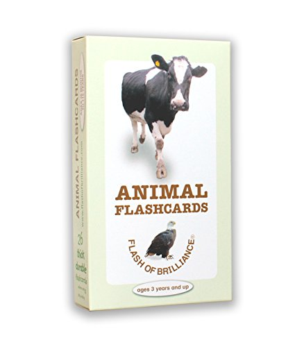 Animal Flash Cards with Fun Facts with Spanish and French Translations for each Animal By Flash of Brilliance