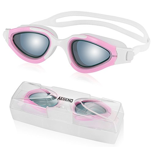 Aegend Swim Goggles Pink Swimming Goggles No Leaking Anti Fog UV Protection Triathlon Lap Swim Goggles with Free Protection Case for Adult Women Youth Girls Kids - Nose Swimming Goggles Bridge