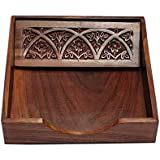 UniqueKrafts Square Full Carved Rosewood Wooden Tissue Paper Rack/Napkin Holder Stand (7.5 x 7.5-inch)