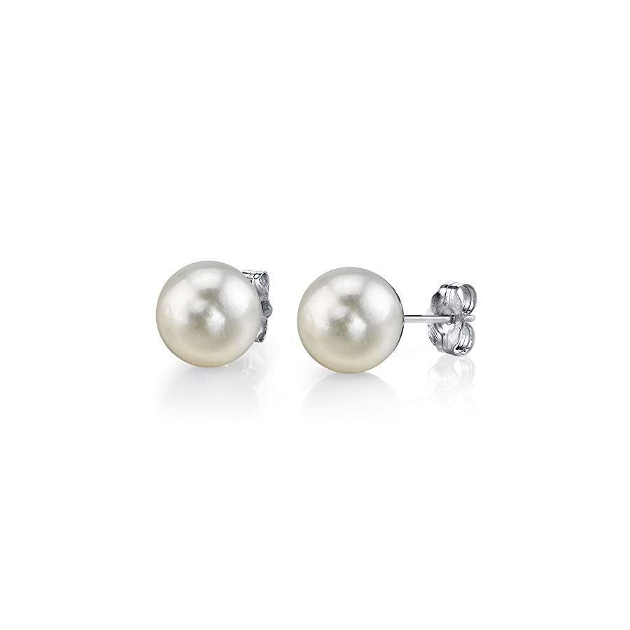 THE PEARL SOURCE 14K Gold Round White Freshwater Cultured Pearl Stud Earrings for Women
