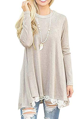 Rdfmy Women's Lace Long Sleeve Tops Casual Round Neck Top Blouses Khaki XXL