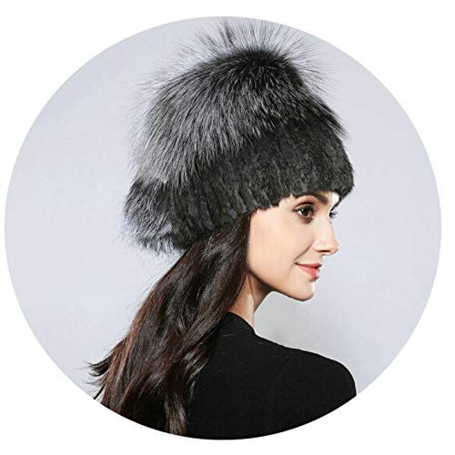 Aooaz Faux Fur Hat Warm Hat for Winter Hair Ball Dome Knitting Hats Womens Hat Dark Gray Length 56-58CM