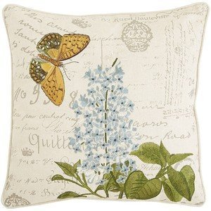 Amazon.com: Pier 1 Imports Embroidered Flower & Butterfly Script Pillow Pillow Personalized ...