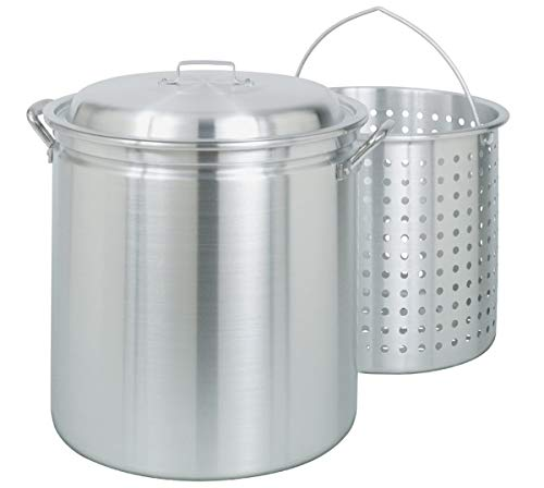 Stock Perforated Pot Aluminum - Bayou Classic 4042 42-Quart All-Purpose Aluminum Stockpot with Steam and Boil Basket (Certified Refurbished)