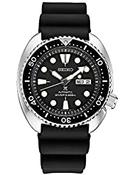 Seiko Mens Automatic Diver Watch with Black Silicone Strap