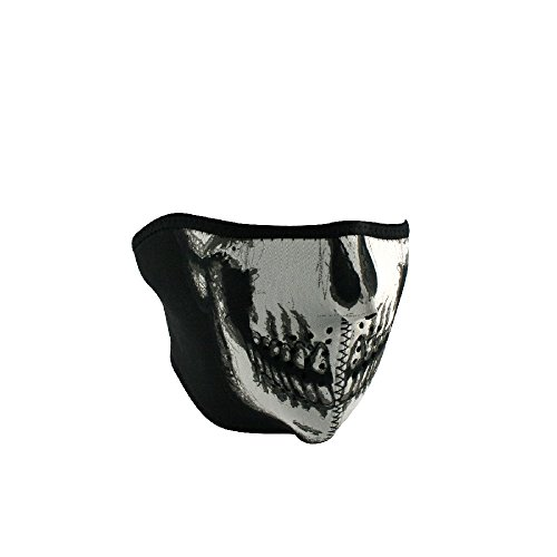 Zan Headgear WNFM002HG, Half Mask, Neoprene, Glow in the Dark, Skull Face