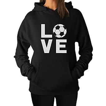 Tstars TeeStars - I Love Soccer - Perfect Gift For Soccer Players/Fans Women Hoodie Small Black
