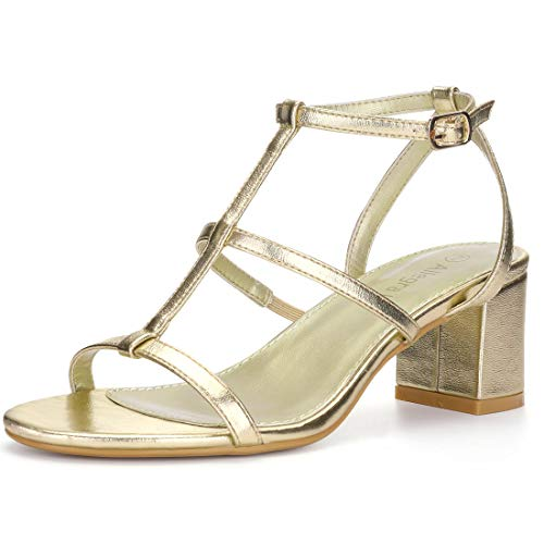 Allegra K Women's Open Toe T-Strap Cage Block Heel Gold Tones Sandals - 8.5 M US (Abs Womens Sandals)
