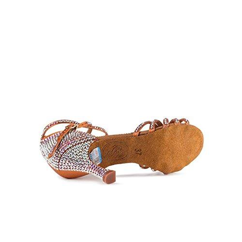 Noche Raso Sandalia Salón UN Zapatos Tamaño Latinos Un Marrón Color Mujer sin Imitación XUE Acanalado Zapatos Baile con de el de para para y 36 Fiesta Tacón Diamantes Baile Zapatos de x7vnp4