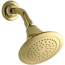 KOHLER 10282-AK-PB Forte 2.5 Gpm Single-Function Wall-Mount Showerhead with Katalyst Spray, Vibrant Polished Brass