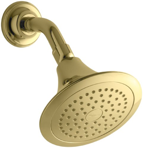 - KOHLER 10282-AK-PB Forte 2.5 Gpm Single-Function Wall-Mount Showerhead with Katalyst Spray, Vibrant Polished Brass