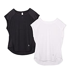 icyzone Yoga Tops Activewear Raglan Workout Tank Tops Fitness Sleeveless Shirts For Women (S, Black/White)