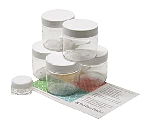 Clear 2 oz Plastic Jars with White Lids (6 pk) with Balm Jar - PET Round Refillable Containers