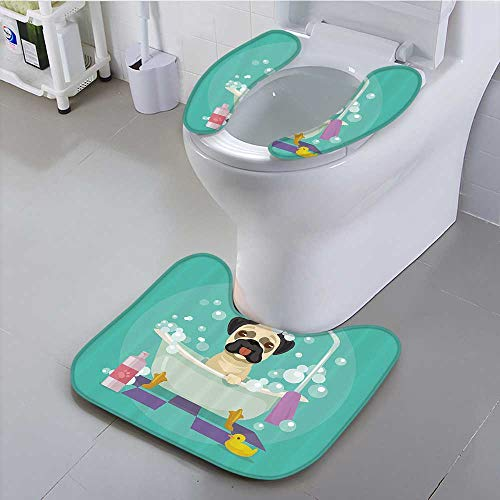 Auraisehome Universal Toilet seat Dog in Bathtub Grooming Doggy Puppy Service Shampoo Rubr Duck Pets Carto Convenient Safety and Hygiene -