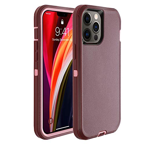 smartelf Compatible with iPhone 12 Pro Max Case(2020) 6.7 inch,Heavy Duty Shockproof Drop Protecton Hybrid Dual Layer Duable Hard Phone Cover-Purple/Pink