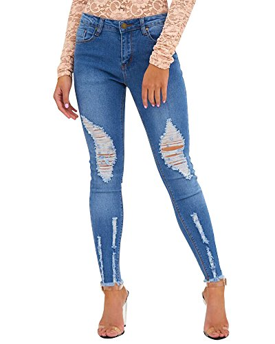Taille Classique Femmes Dchir Skinny Bleu Jeans Long Fonc Jeans Dcontract Haute COOqwtSU