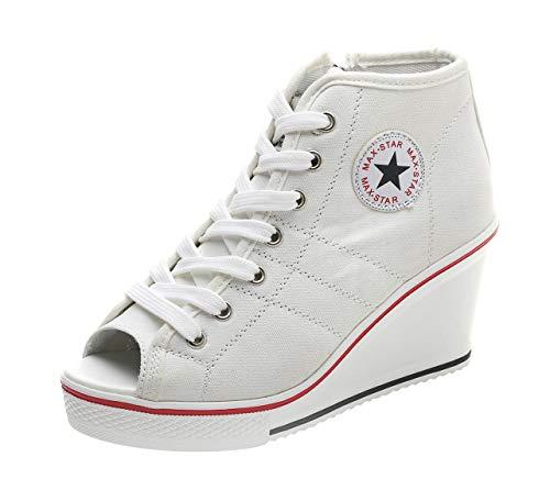 Women Wedge Sandals Peep Toe High Heeled Wide Width Slingback Summer Canvas Sneakers (US 6.5, Star Peep-Toe - Platforms Ace