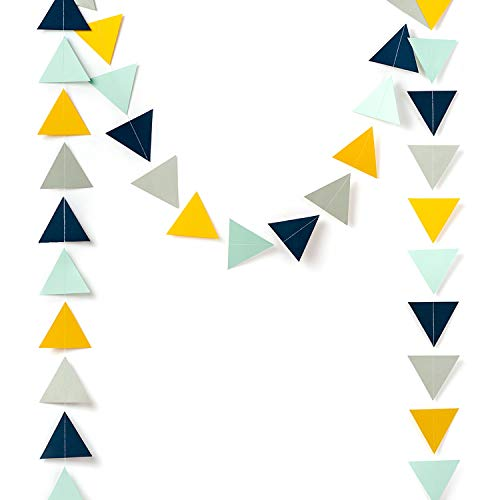 Paper Garland Decorations, Triangle Bunting Garland, Tribe Party Banner (Navy Blue, Mint, Yellow, Gray) for Wedding Decor, Nursery Wall Decor, Baby Shower, Bridal Shower, 10 Feet (Paper Bunting)