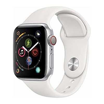 Apple Watch Series 4 (GPS + Cellular, 44MM) – Silver Aluminum Case with White Sport Band (Renewed)
