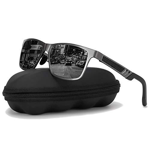 Polarized Driving Sunglasses For Men-GOUDI Mens Women Al-Mg Metal Frame Lightweight Fishing 100% UV Sports Outdoors ()