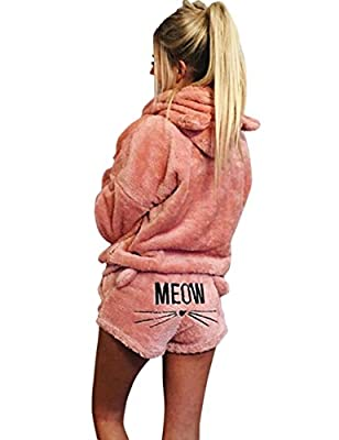 SEENFUN Women's Pajamas Cozy Sleepwear Fleece Meow Embroidered Hoodie Pj Set