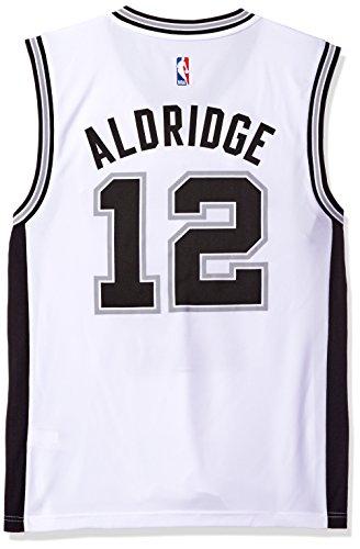 Authentic Adidas Nba Basketball Jersey - NBA Men's San Antonio Spurs LaMarcus Aldridge Replica Player Home Jersey, Medium, White