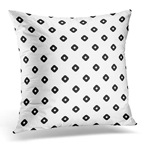 (Emvency Throw Pillow Covers Case Black Rhombuses Contours Pattern Design with Diamonds Checks Ethnic Mosaic Hoops and Loops Artwork White Decorative Pillowcase Cushion Cover 20 x 20 Inches)