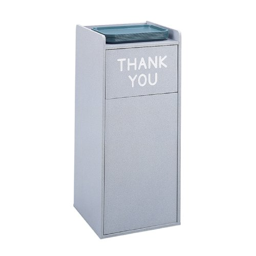 Food Court Receptacle - Safco Products 9729GR Wood Food Court Waste Receptacle, 36-Gallon, Gray