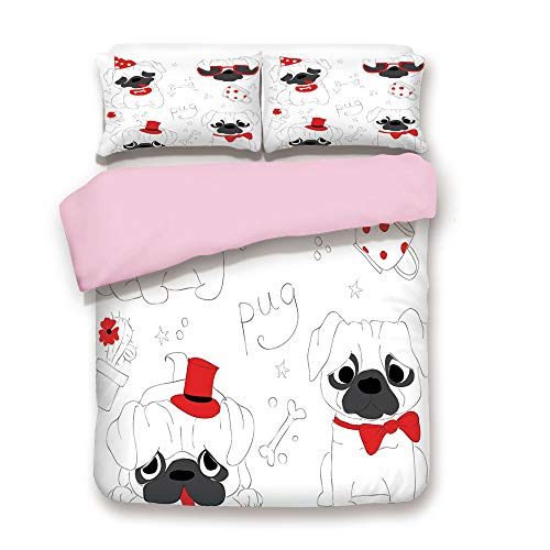 Pink Duvet Cover Set,Queen Size,Dogs in Various States Sad Happy Cool Excited Dog Bone Dotted Mug Caricature Style Decorative,Decorative 3 Piece Bedding Set with 2 Pillow Sham,Best Gift For Girls Wome