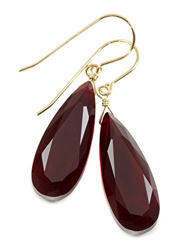 """14k Yellow Gold Filled Simulated Ruby Earrings Deep Red Faceted Teardrops Simple Long Drops 1.7"""""""