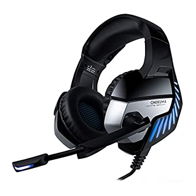 Nivava K5 Pro Gaming Headset for PS4, PC, Xbox One Controller, Noise Cancelling Over Ear Headphones with Mic, LED Light, Bass Surround