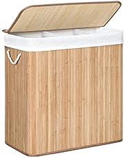 SONGMICS Wasmand met 3 secties, clip-on deksel en handvaten, 150L opvouwbaar, voor wasruimte, slaapkamer, badkamer, Natural LCB091N01