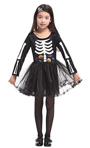 Brcus Little Girls' Skeleton Bones Halloween Costumes Role Play Cosplay Dress Medium(for Height 110-120cm)]()