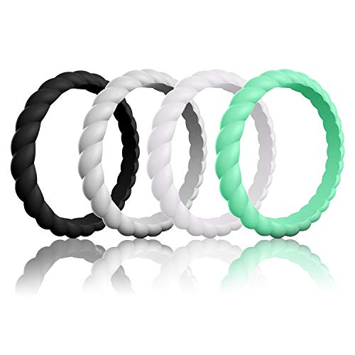 Mokani Silicone Wedding Ring for Women, [4 Packs] Thin and Braided Rubber Band, Fashion, Colorful, Comfortable fit, Skin Safe - Fashion The Band