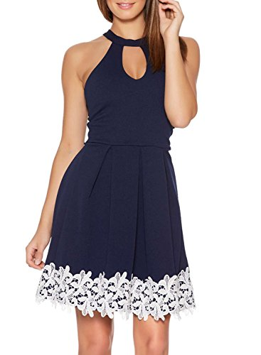 Fantaist Women's Halter Keyhole Neck Lace Trim Pleated Cocktail Party Dress (0/2, Royal Blue)