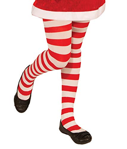 Forum Novelties Novelty Candy Cane Striped Christmas Tights, Child Large ()