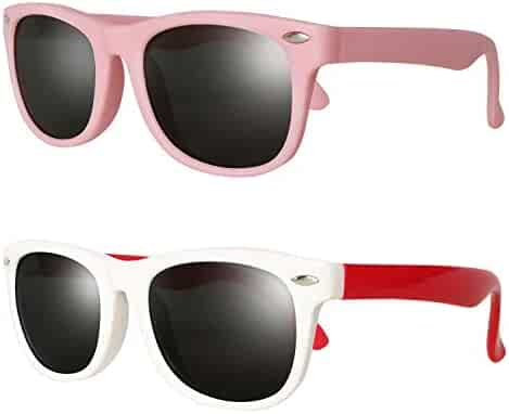 844813d15b Kids Polarized Cat Eye Aviator Sunglasses for Girls Boys Children Pack of 2