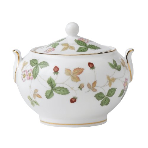 Wedgwood Wild Strawberry Covered Sugar Bowl Fine China Covered Sugar Bowl