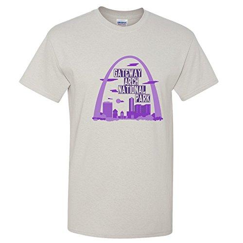 Gateway Arch National Park Postcard - Missouri Outdoor Summer Vacation T Shirt - X-Large - Ice Grey