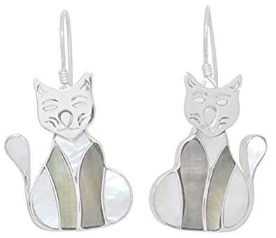 ERCE nácar concha pendientes gato, plata de ley 925, longitud 4,5 cm, en estuche de regalo: ERCE Unique Jewellery: Amazon.es: Joyería