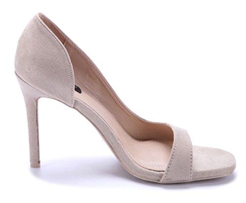 Schuhtempel24 Damen Schuhe Peeptoes Pumps Stiletto 11 cm High Heels Beige