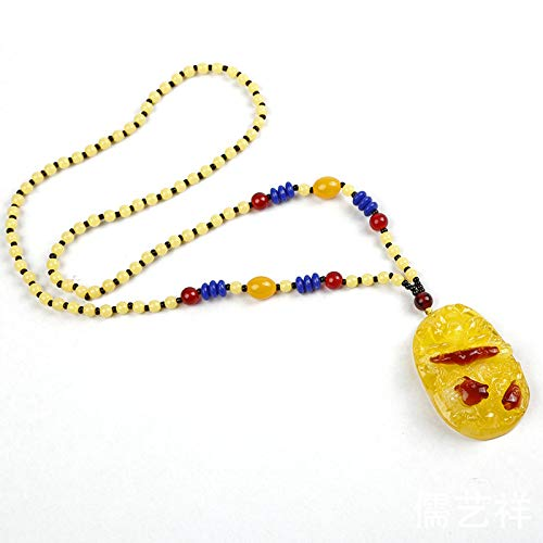 beeswax peace buckle pendant necklace wholesale flower long sweater chain hoist amber jewelry yunnan (collection random mixed ()