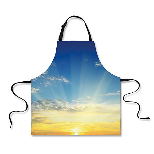 iPrint Cooking Apron,Sky,Sun Rays Above The Horizon Sunset C