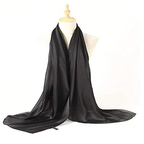 Bellonesc Silk Scarf 100% silk Long Lightweight Sunscreen Shawls for Women (black)]()