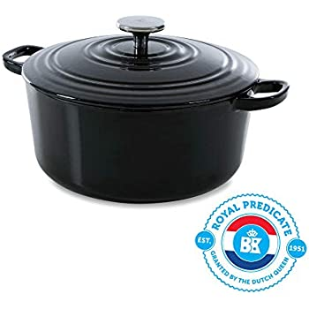 BK H6071.528 Bourgogne Cast Iron Pan, 7QT, Black
