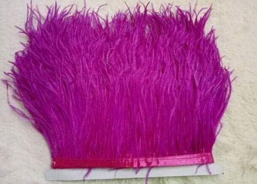 Maslin Hot Sale Dyed 1yard Leather Light Purple Ostrich Feathers Fringe Trims Natural Plumage Ribbon Trim for Costume Dress - (Color: Rose)